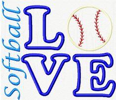 Softball Love  applique machine embroidery