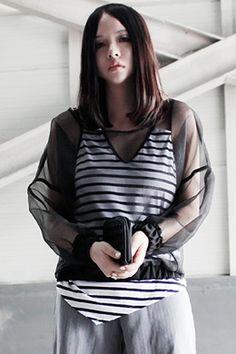 Puff Sleeves Black T-shirt #Romwe