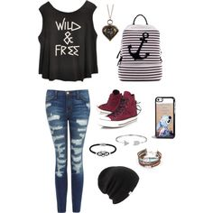 7th. Grade outfit!! Mya's cloths by myadiaz123 on Polyvore featuring polyvore, fashion, style, Current/Elliott, Converse, Dasein, Jewel Exclusive, Bling Jewelry, Coal and Disney