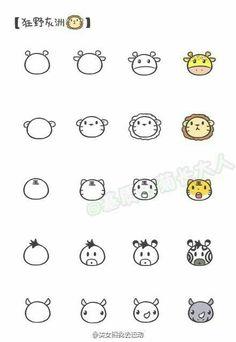 Animal face head doodles