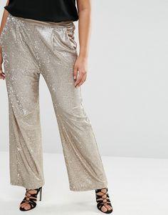 Plus Size Sequin Wide Leg Pants