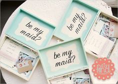 I'm 100% doing this for my bridesmaid. It's a box for your bridal party with contents of information- your dress, my girls, your role, our day, inspiration photos, color palette examples (paint chips).