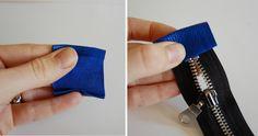 leather foldover clutch diy - nice finishing on zipper