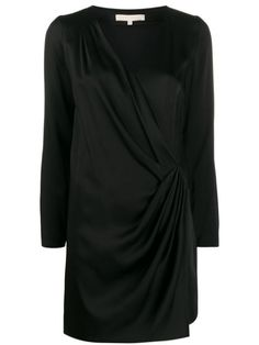 Black wrap v-neck dress from Vanessa Bruno Athé. Featuring a v-neck, long sleeves, a wrap waist and a short length. Vanessa Bruno, V Neck Dress, World Of Fashion, Your Style, Women Wear, Clothes For Women, Long Sleeve, Dress Black, Sleeves