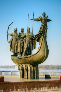 Statue Of Founders of Kiev, capital of Ukraine , the 8th largest city in Europe .