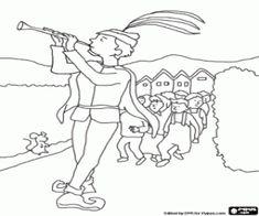 Colorear Flautista de Hamelín y los niños