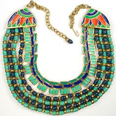 Hattie Carnegie Egyptian Revival Turquoise Lapis and Enamel Collar Necklace / gold plated base metal, faux turquoise and lapis beads, enamelling Marked: Hattie Carnegie, C / Mark dates this to after 1955 - 1960s /875