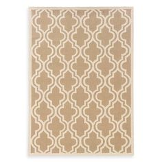 Linon Home Silhouette Collection Quatrefoil Rug in Beige/White