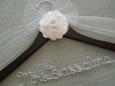 Bridal Hanger with WHITE Peony Flower Wedding Dress by DivineDays