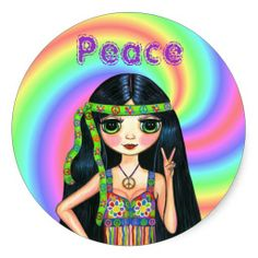 1960s Peace Sign Hippie Girl with Headband Round Stickers