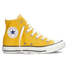 Converse Chuck Taylor All Star Fresh Colors yellow Sneakers ❤ liked on Polyvore featuring shoes, sneakers, hi tops, star sneakers, star shoes, converse shoes and yellow high top sneakers