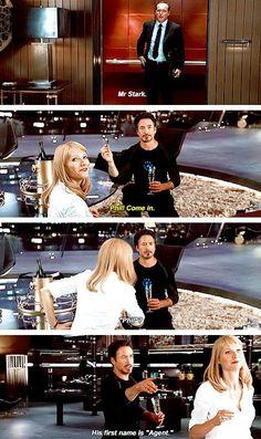 The Avengers quote between Agent Phil Coulson, Pepper Potts, and Tony Stark. Avengers Humor, Avengers Quotes, Funny Marvel Memes, Dc Memes, Marvel Jokes, Avengers Imagines, Loki Quotes, Marvel Dc Comics, Marvel Avengers