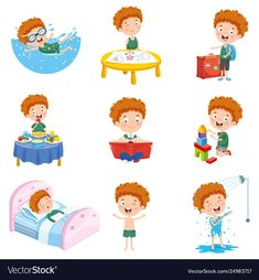 Vector Illustration Of Cartoon Character , Teach English To Kids, Teaching English, Daily Routine Kids, Teaching Time, English Classroom, Preschool At Home, Programming For Kids, Coloring Sheets, Parenting Hacks