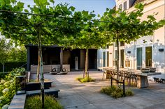 Roof terrace with concrete tiles and shaped trees. In the background a covered outdoor room with lounge area and outdoor fireplace. #Overkapping #RoyalBotania #Buitenhaard #Simes #MartinVeltkampTuinen #Schellevisbeton