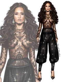 Demi Lovato wearing ZUHAIR MURAD #vmas2017 Or ? #digitaldrawing by @David Mandeiro Illustrations #digitalart #DemiLovato #ZuhairMurad #Wacom
