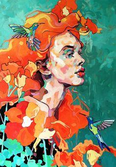 """Listening to the Music"" - Dominik Jasinski (b. 1981), oil on canvas, 2015 {female head #expressionist art birds woman face profile portrait painting #noveltechnique} dominikjasinski.com"