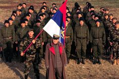 Zeljko Raznatovic , also known as Arkan, and his fighters in the Croatian town...
