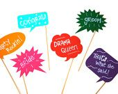 Colorful Chalkboard Photo Booth Props on a stick - Set of 6 Colored Chalk Board Photobooth Props - Includes Chalk