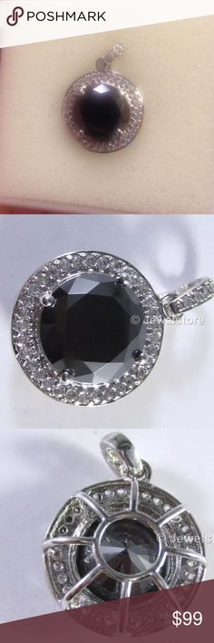 5.41 Carat Black Moissanite .925 Sterling Pendant 5.41 carat  Genuine Black Moissanite .925 Sterling Silver Pendant. Absolute 925 purity sterling silver with great finish and anti tarnishing features. Metal is Sterling Silver Purity Stamp .925 Silver Weight is equal to 3.61 gm. Stone Details; Total Carat Weight 5.41 carat Stone Type; Genuine Moissanite Round Cut Clarity is opaque Jewelry Necklaces