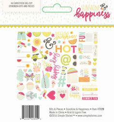 Sunshine and Happiness Bits & Pieces by Simple Stories for Scrapbooks, Cards, & Crafting found at FotoBella.com
