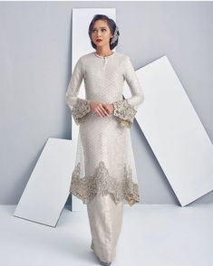 - - -You can find Baju kurung and more on our websi. Muslimah Wedding Dress, Muslim Wedding Dresses, Dream Wedding Dresses, Bridal Dresses, Hijab Fashion, Fashion Dresses, Muslim Fashion, Kebaya Modern Dress, Malay Wedding Dress