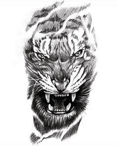 Tiger Head Tattoo, Tiger Tattoo Sleeve, Lion Tattoo Sleeves, Lion Head Tattoos, Tiger Tattoo Design, Flame Tattoos, Bull Tattoos, Hand Tattoos, Animal Tattoos