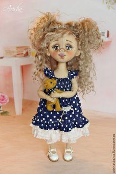 Купить Маленькая Вишенка . Кукла авторская коллекционная текстильная . Ариша - тёмно-синий, розовый, девочка