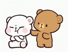 LINE Official Stickers - Milk & Mocha: Unstoppable Lovers Example with GIF Animation Cute Couple Cartoon, Cute Cartoon Pictures, Cute Love Cartoons, Cute Love Pictures, Cute Love Gif, Cute Cat Gif, Gif Lindos, Memes Lindos, Calin Gif