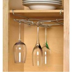Wine glass rack under cabinet is the best way to look western and contemporary. Stemware ideas may perfect your kitchen set into modern delightful Wine Glass, Wine Bottle Glass, Stemware, Glass Shelves Ikea, Glass Shelves, Stemware Holder, Wine Glass Shelf, Glass Storage, Hanging Wine Glass Rack