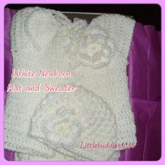 White Newborn  Sweater Set