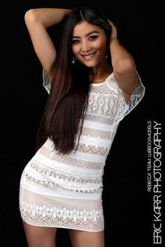 Rebecca in White Dress - Team Lubbock Models.