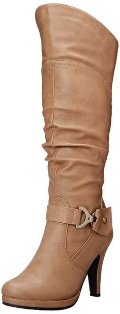 Top Moda PAGE-65 Women's Knee High Round Toe Lace-up Slouched High Heel Boots