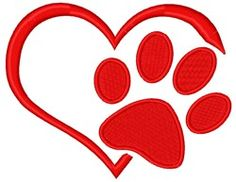 Paw Print Heart machine embroidery design from embroiderydesigns.com. Quilting Designs, Machine Embroidery Designs, Hand Embroidery Tutorial, Satin Stitch, Quilts, Sewing, Projects, Dog Days, Heart