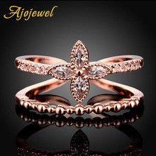 Ajojewel Bijoux Femme Size 567 Double Layer Openable AAA Cubic Zircon Women Rings Flower Valentine's Day Gift
