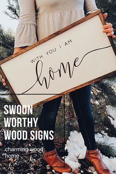 With You I Am Home | Wood Farmhouse Sign | Wood Signs | Wooden Sign | Bedroom Wall Decor Ideas and Inspiration | At Charming Wood Home, we have SWOON-WORTHY wood signs.. really. We quite like them. ;) VISIT the shop to see this sign and other gorgeous signs.
