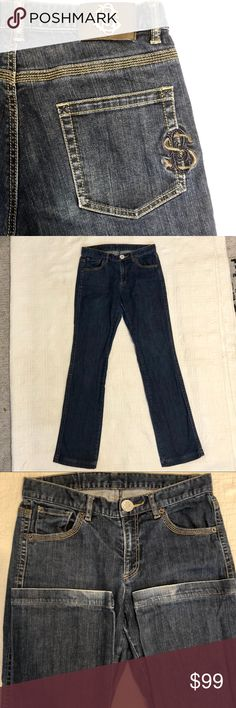 """RARE Sonia Bogner Jeans Straight Leg 8 Long RARE Sonia Bogner Jeans Straight Leg Sz 8 Long German  Rare great quality jeans by the late Sonia Bogner. Embroidered back pocket, silver and gold back tag.  These jeans are gently used, great condition except for some wear on back hem, see photos.  Waist 30"""" Inseam 32"""" Rise 9""""  Please ask any questions before bidding or purchasing.  Photos are part of the description and show details of condition.  100% Positive Feedback  Thank you for looking…"""