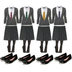 Hogwarts Uniform girls ❤ liked on Polyvore featuring harry potter and hogwarts