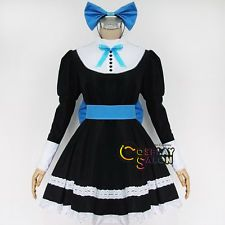 Panty & Stocking Black With Blue Bow Anime Lolita Dress Cosplay Costume Clothing