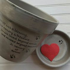 Personalized Pet Memorial Planters now come in a larger 8 inch size. Order yours today! HappyMooseGardenArt.Etsy.com