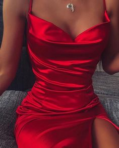 Spaghetti Strap Bodycon Slit Dress Online Discover hottest trend fashion at Prom Outfits, Mode Outfits, Girly Outfits, Cute Casual Outfits, Stylish Outfits, Night Outfits, Pretty Prom Dresses, Hoco Dresses, Tight Dresses