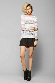 Sparkle & Fade Stripe Open-Stitch Sweater #urbanoutfitters