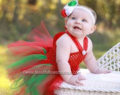 Christmas Tutu Infant Dress,Vintage Christmas Tutu Dress,Baby Girl Christmas Outfit and Bow Set,Tulle Tutu Dress Girls,Newborn Christmas
