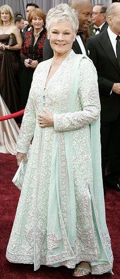 Dame Judi Dench is a fan of designer duo Abu Jani and Sandeep Khosla; Dame Judi is one of my favorite British actresses. Pakistani Dresses, Indian Dresses, Indian Outfits, Indian Anarkali, Indian Attire, Indian Wear, Judi Dench, Desi Wear, Advanced Style