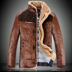 2013 winter new men genuine lamb's wool collar down jacket men's thick white duck down jacket coat-in Wool & Blends from Apparel & Accessori...