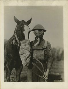 1914 - WWI Gas Masks - Human and Horse.