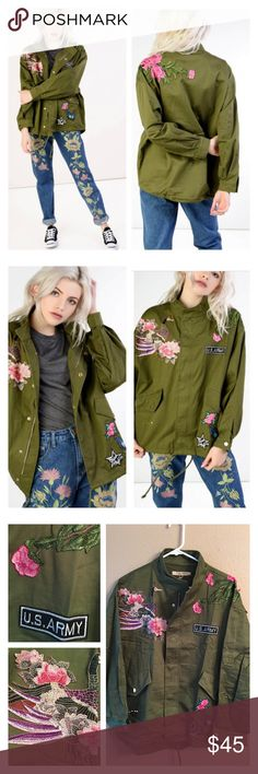 """Utility Embroidered jacket Super cool and trendy utility jacket in green khaki features embroidered patches. Zip up front. Two front pockets with snap buttons. Drawstring bottom. Cotton. Runs like a size 10/12. Bust 48"""", length 25"""". Brand new. U.K. Brand. ❌no trades Jackets & Coats Utility Jackets"""
