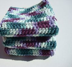Jewel Tone Dishcloths - Set of Three Dishcloths, Dish Cloths - Jewel Tone Teal and Purple Variegated - Hoooked by Hoooked, $12.00