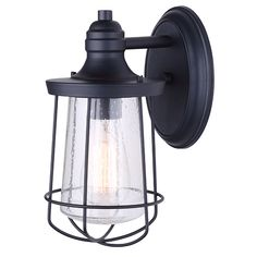 Shop for Canarm Leon 1 Light Outdoor Light with Seeded Glass - Black - Easy Connect. Get free delivery On EVERYTHING* Overstock - Your Online Outdoor Lighting Store! Black Outdoor Lights, Modern Outdoor Wall Lighting, Outdoor Ceiling Fans, Outdoor Wall Lantern, Outdoor Wall Sconce, Outdoor Walls, Multi Luminaire, One Light, Wall Sconces