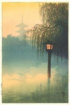 Lantern in Pond by Ito Yuhan (published by Nishinomiya Yosaku)