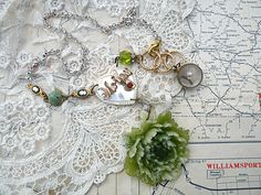 mother assemblage necklace with green peony tres shabby chic
